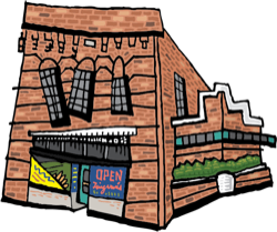 Cartoon illustration of Deli building
