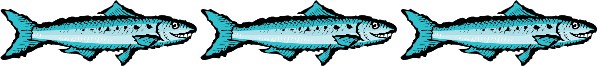 Zingerman's Illustration of three blue sardines