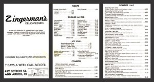 First Zingerman's Deli Menu from 1982