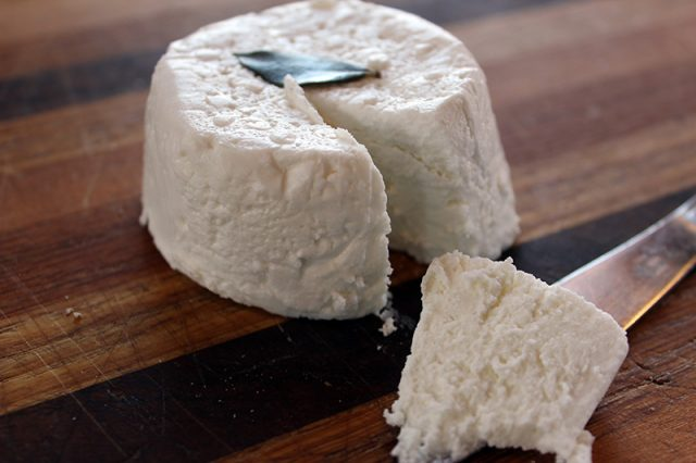 Zingerman's Creamery City Goat Cheese cut with a butter knife