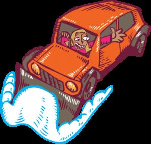 car jeep plough woman