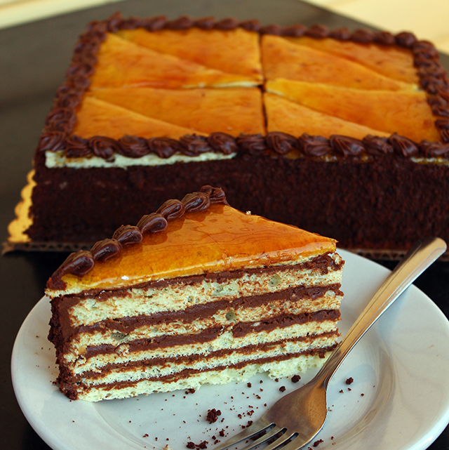 Zingerman's Bakehouse Hungarian Dessert Dobos Torta slice on a plate