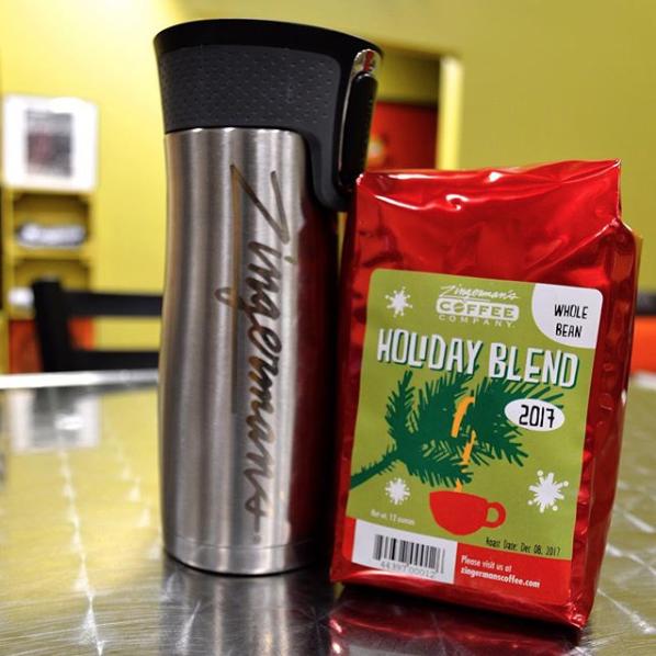 Zingerman's Coffee Company Holiday Blend Bag and Zingerman's Travel Mug