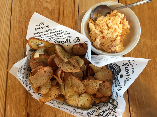 Zingerman's Deli Bagel Chips and Pimento Cheese