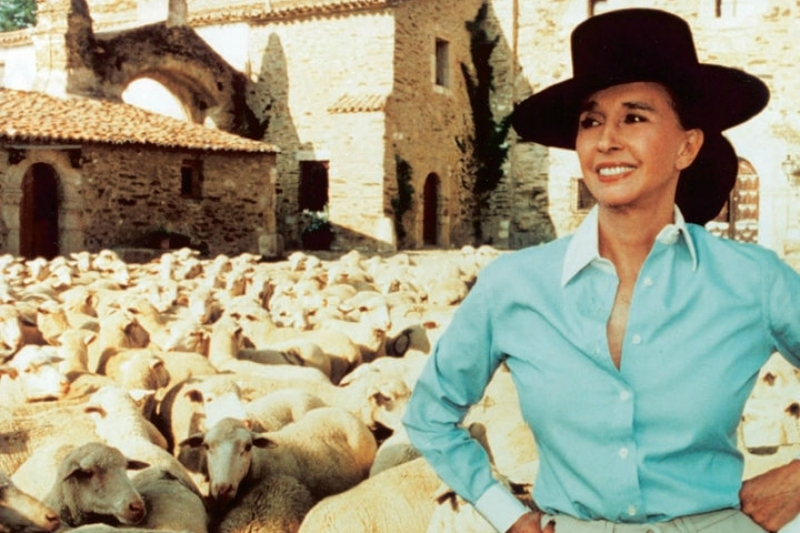 Aline Griffith with her sheep
