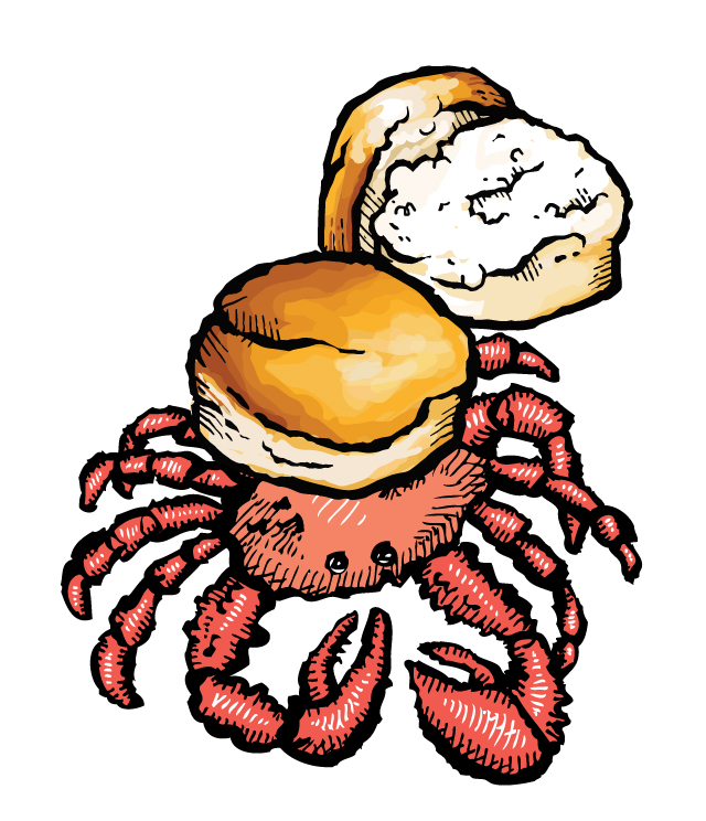 Zingerman's illustration of a crab with a biscuit on its shell