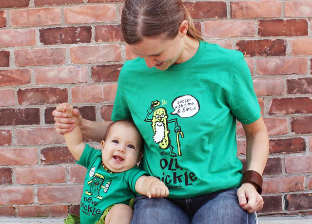 Old and New Pickle shirts on a Mom and lil baby.