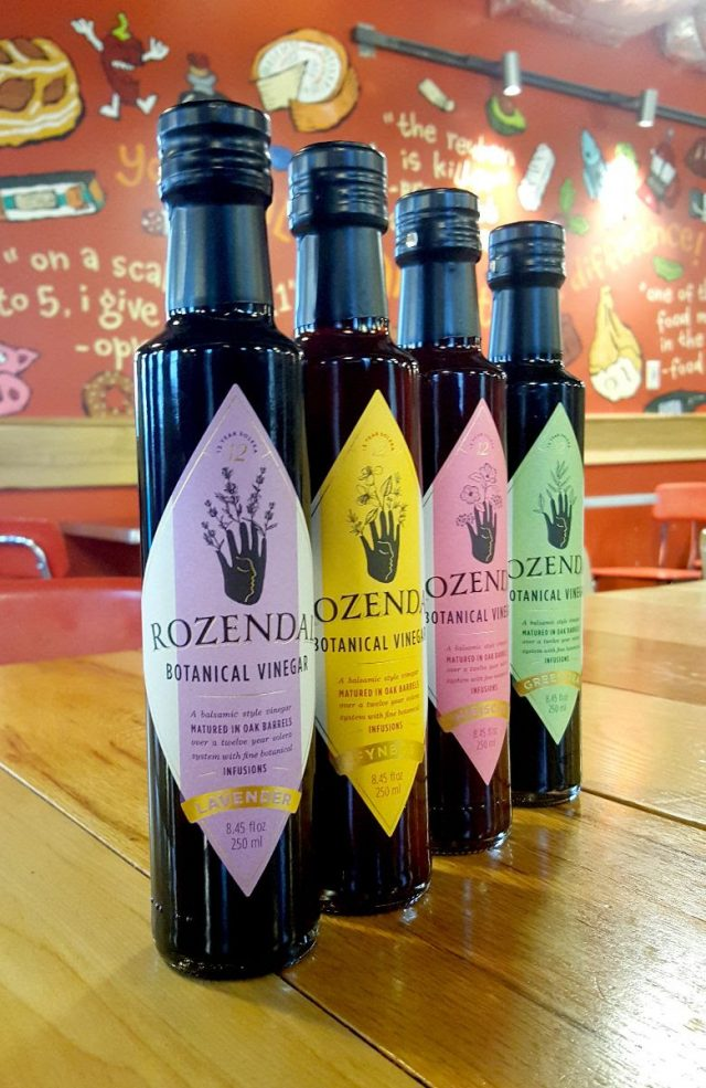 Four Rozendal Vinegar Bottles on a Zingerman's table