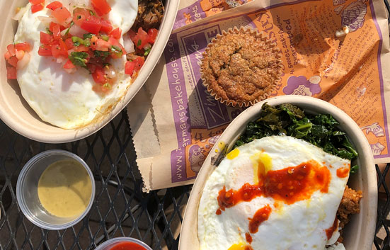 Pueblo on the Patio breakfast bowls on a patio table!