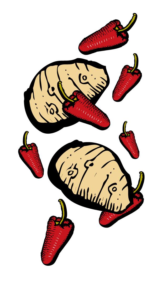 Zingerman's Illustration of potatoes and peppers