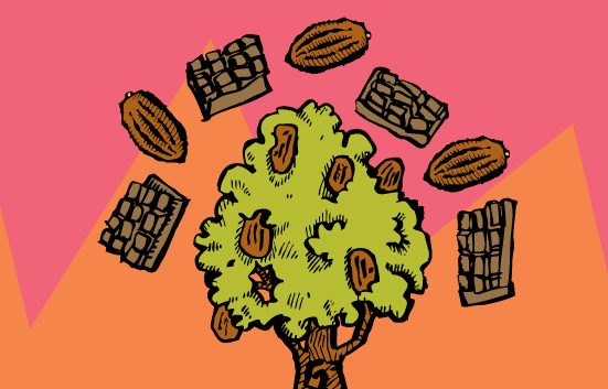 Zingerman's Illustration of a cacao tree surrounded by pods and chocolate bars