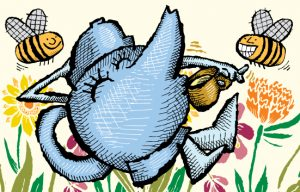 Illustration of a happy teapot drinking tea in a bed of flowers
