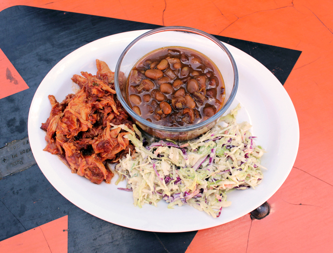 Zingerman's BBQ and Baked Beans Plate with baked beans, pulled Amish chicken and slaw.