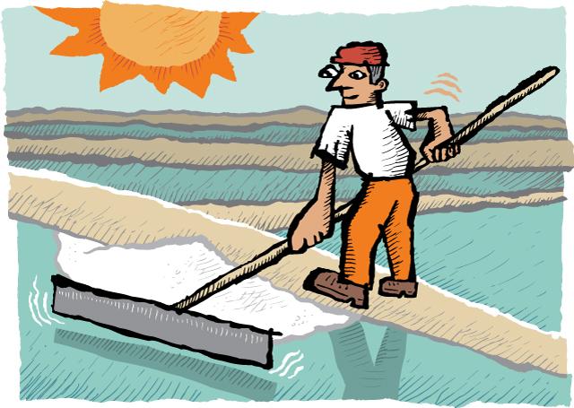 Zingerman's illustration of a salt raker in the sun