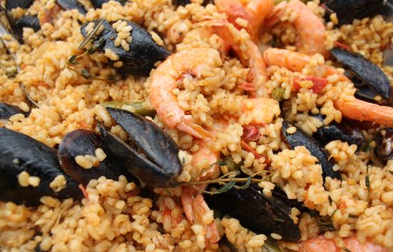 Zingerman's seafood paella closeup