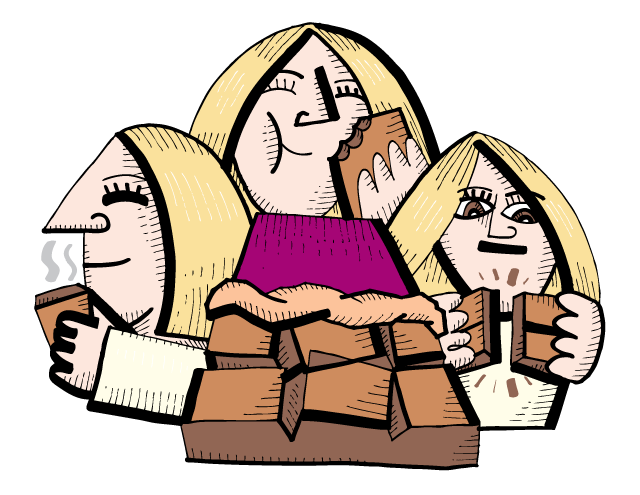 Zingerman's illustration of a lady smelling, tasting and breaking chocolate
