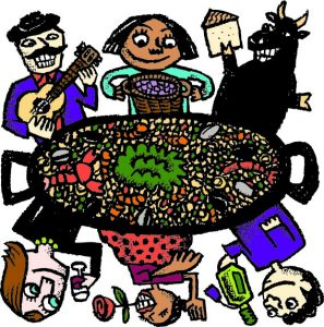 Illustration of people surrounding a paella pot