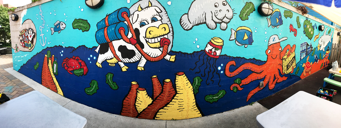 Zingerman's Deli Kid's Mural with underwater creatures