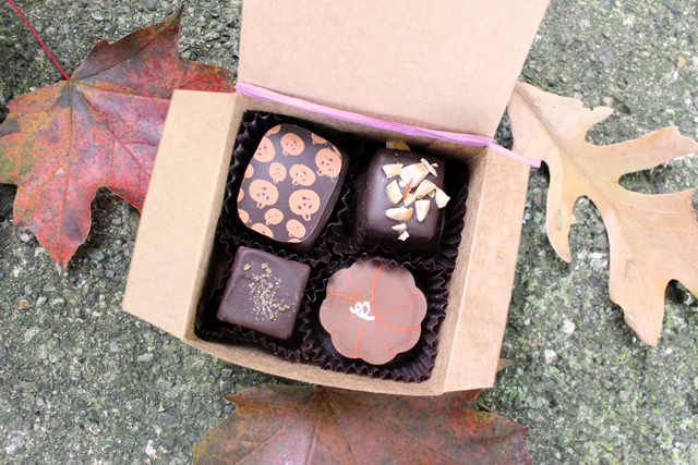Zingerman's Next Door Cafe truffle box with autumn leaves