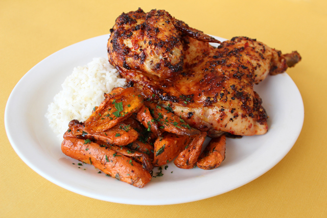 Zingerman's Piri Piri Chicken plate with Portuguese lemon carrots and Carolina gold rice