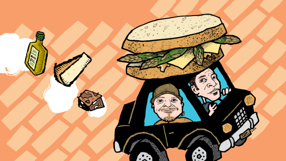 Zingerman's Deli Local Delivery graphic with a car and a sandwich on the top
