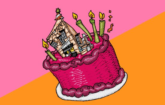 Zingerman's Illustration of a Birthday cake with the Deli building on top