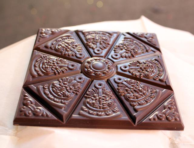 Zingerman's Photo of Rozsavolgyi Cardamom Chocolate Bar shaped like traditional Hungarian tiles