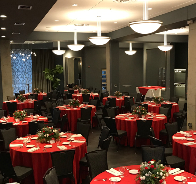 Zingerman's Greyline tables decked out in red tablecloths for the holidays!