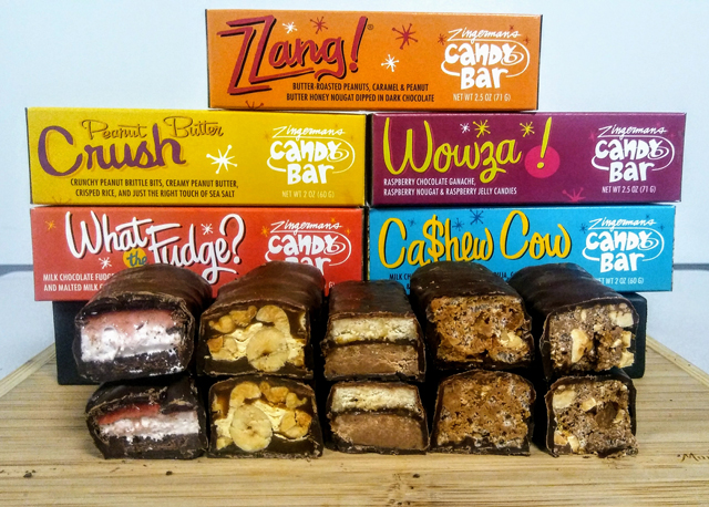 Zingerman's Candy Manufactory Zzang Candy Bar Flavors on a board with their colorful packaging