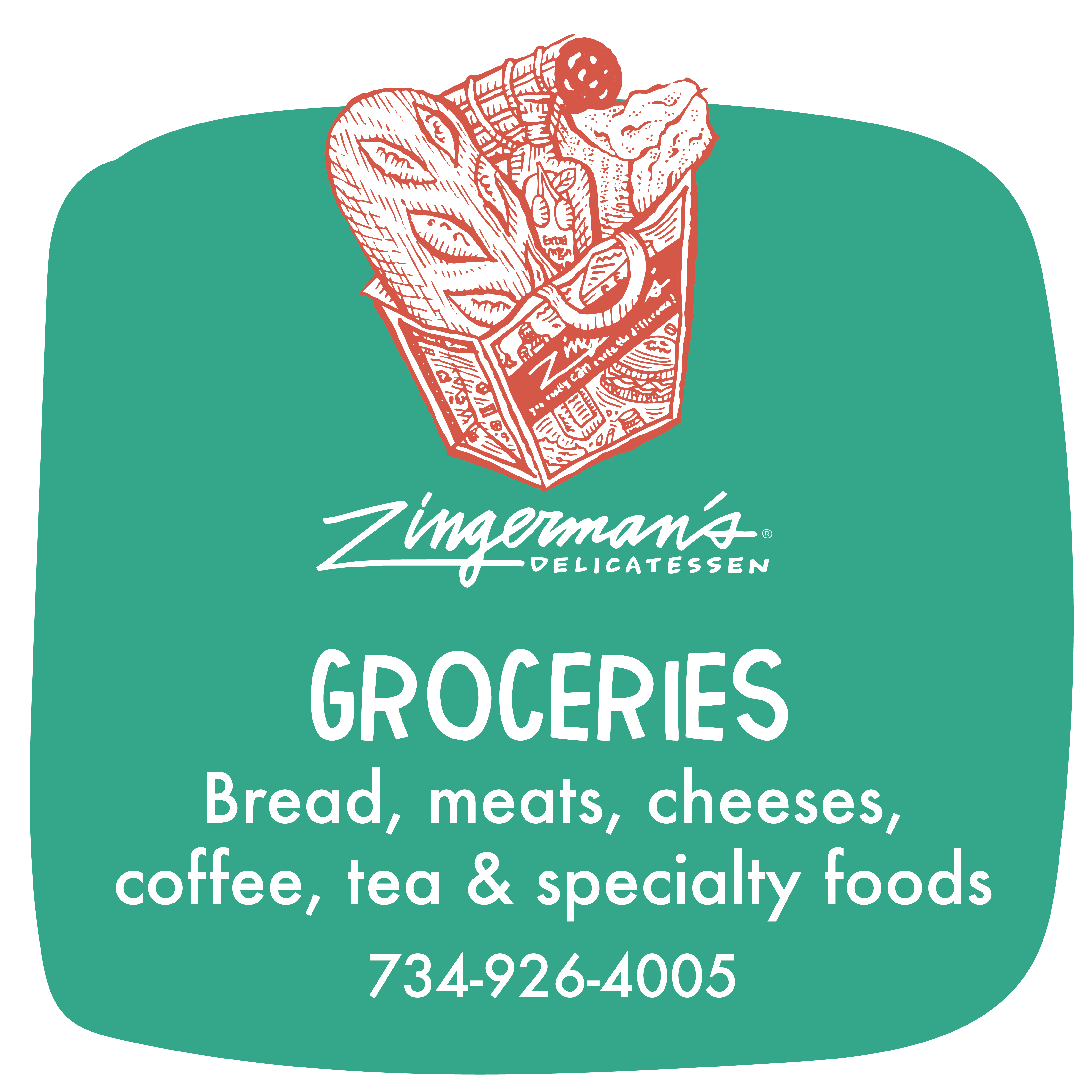 Zingerman's Groceries, bread, meats, cheeses, coffee, tea and specialty foods