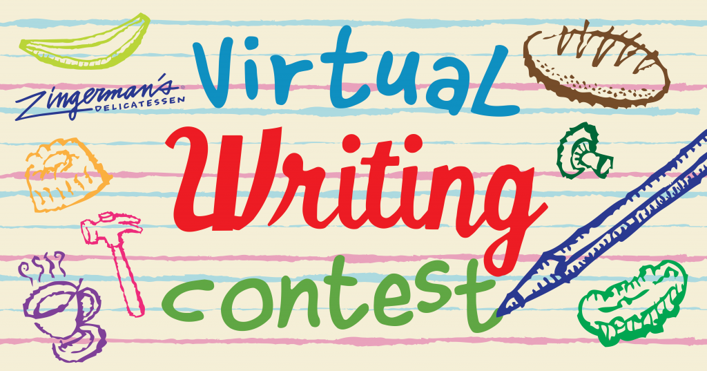 Virtual Writing contest hand drawn poster with bread and pickle